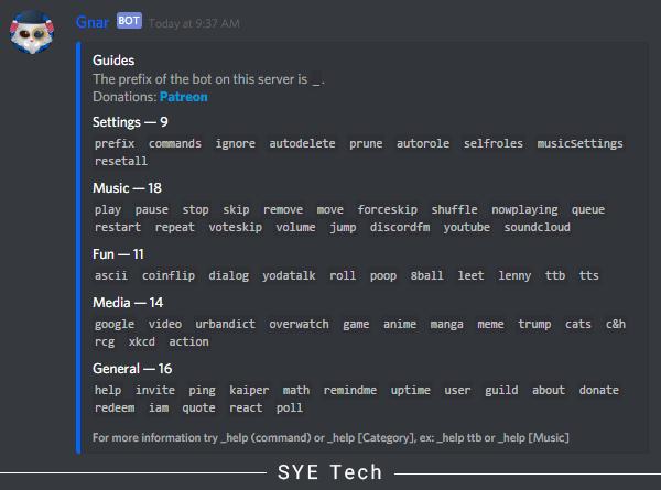 لیست دستورات ربات Gnar